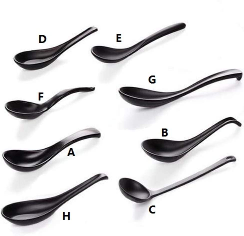 Bvyo Soup Spoon Black Matte Ladle Spoon Japanese Style Hand-Pulled Noodle Tableware Anti-Fall Tortoise Shell Shaped Spoon,A