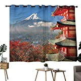 Diycon Novel Curtains Fuji Mountain View Japanese History Breathability W55 xL45 Suitable for Bedroom Living Room Study,etc