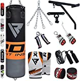 punch bag wall bracket - RDX Punching Bag Filled Wall Bracket Boxing Training MMA Heavy Punch Gloves Chain Ceiling Hook Muay Thai Kickboxing 14PC Martial Arts 4FT 5FT Set