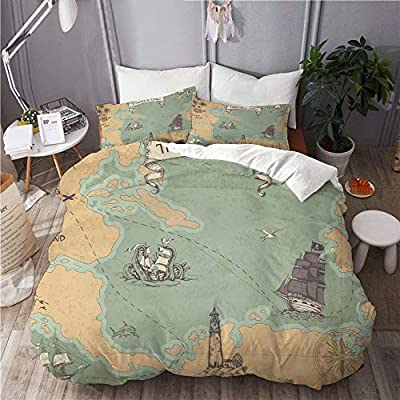 ELIENONO Juego de Ropa de Cama con Funda de edredón,Vintage Vector Pirata Mapa veleros,de Almohada de Microfibra,200 x 200cm: Amazon.es: Hogar