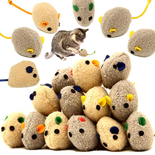 Youngever 20 Pcs Cat Toys, Catnip Mice, Cat Mouse Toys, Catnip Cat Toys, Interactive Play for Cat, Puppy, Kitty, Kitten 3