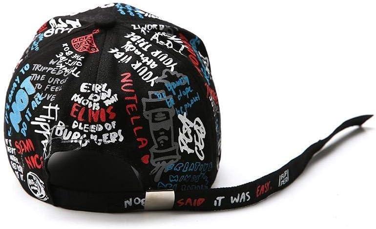Color : Black LSHGJ Unisex Donne Uomini Cappelli Registrabili Nero Bianco Stampa Graffiti all-Matching Cappellino Uomo Donna et/à: