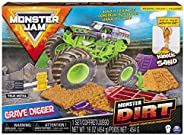 Monster Jam, Grave Digger Monster Dirt Deluxe Set, Featuring 16oz of Monster Dirt and Official 1:64 Scale Die-