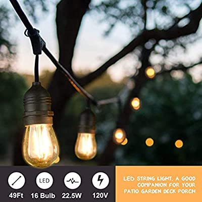Mpow 49ft Led Outdoor String Lights, UL Listed IP65 Waterproof Dimmable Led String Lights, 15 Hanging Sockets, 1.5W Edison Vintage Bulb (1 Spare), Create Cafe Ambience for Patio Backyard