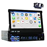 Backup Camera + 2GB 7'' Single Din Android 6.0 Car DVD Player with Bluetooth GPS Navigation Car Stereo Radio Receiver Detechable Panel Pop-Out Touch Screen with WiFi Subwoofer Audio/Video Output