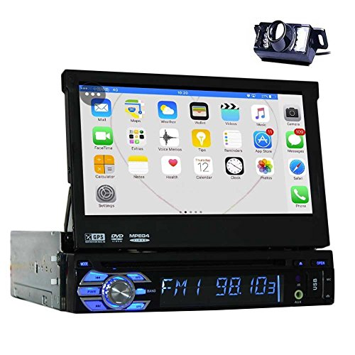 - Backup Camera + 2GB 7'' Single Din Android 6.0 Car DVD Player with Bluetooth GPS Navigation Car Stereo Radio Receiver Detechable Panel Pop-Out Touch Screen with WiFi Subwoofer Audio/Video Output