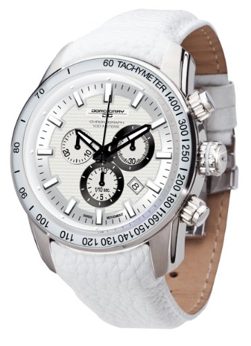 Jorg Gray 3700 Swiss Chronograph - White Texture Dial - Stainless - Leather