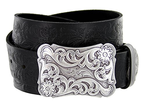 (Women's Cowtown Western Tooled Full Grain Leather Belt 1 1/2 Wide Black Brown (34,)