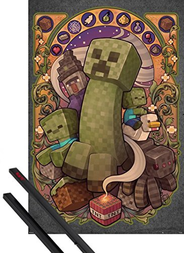 Set Creeper 1 (1art1 Poster + Hanger: Minecraft Poster (36x24 inches) Creeper Nouveau and 1 Set of Black Poster Hangers)