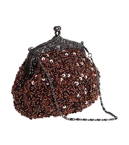 Puluo Vintage Evening Day Brown Women Mother's Bag Bag Fasshion Evening Bridal for Sequin Clutch Prom Beaded Glitter Handbag Bag Wedding Bag Clutch Green ddxr15B