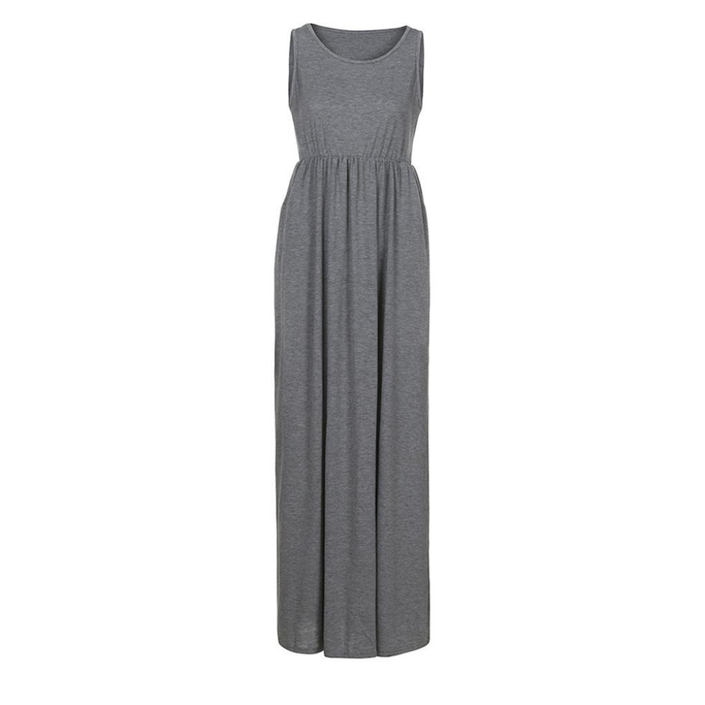 FeiXiang Womens Solid Long Boho Dress Elegant Lady Beach Summer Sundrss Maxi Dress (M, Gray): Amazon.co.uk: Garden & Outdoors