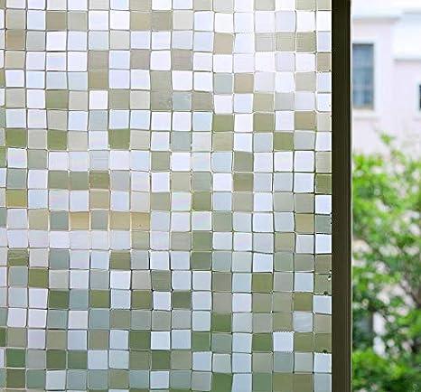 Amazon Com Bloss Privacy Window Film Premium Window Films Decorative Windows Film Small Mosaic Heat Control Anti Uv Glass Film Home Office Bathroom Bedroom 17 7 By 78 7 Inches Home Kitchen