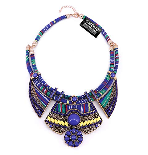 Chunky Bib Statement Torque Choker Bohemia Indian African Egypt Magnetic Clasps Multi Layers Tribal Necklaces. Fashion Jewelry Sets Collar Best Friend Gift Box for Women. (CQQ-MZ-22blue) (FQQ-MZ-20)