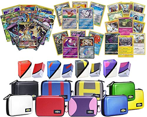 Totem World Pokemon Premium Collection Ultra Rare with 100 Pokemon Cards - Carrying Case - 100 Sleeves - Deck Box