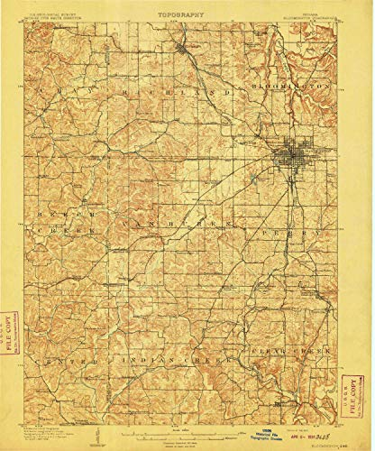 YellowMaps Bloomington in topo map, 1:62500 Scale, 15 X 15 Minute, Historical, 1910, 19.7 x 16.5 in - ()