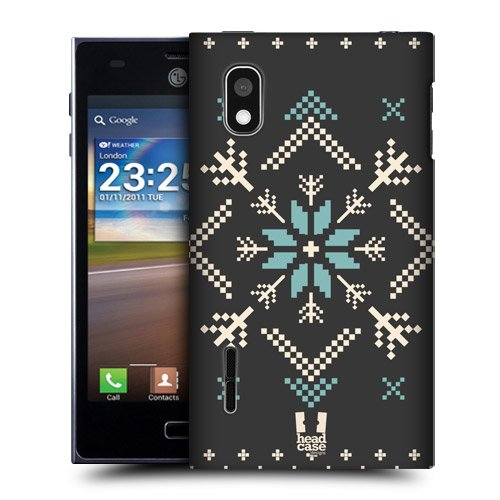 Head Case Designs Charcoal Fair Isle Winter Prints Protective Snap-on Hard Back Case Cover for LG Optimus L5 E610