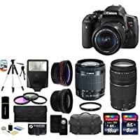 Canon EOS Rebel T6i 24.2MP CMOS Digital SLR Camera with EF-S 18-55mm f/3.5-5.6 IS STM Lens + Canon Zoom Telephoto EF 75-300mm f/4.0-5.6 III Autofocus Lens + 58mm Telephoto Lens + Wide Angle Lens + Case + Flash + Tripod + 24GB Deluxe Accessories Bundle Benefits Review Image