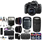 Canon EOS Rebel T6i 24.2MP CMOS Digital SLR Camera with EF-S 18-55mm f/3.5-5.6 IS STM Lens + Canon Zoom Telephoto EF 75-300mm f/4.0-5.6 III Autofocus Lens + 58mm Telephoto Lens + Wide Angle Lens + Case + Flash + Tripod + 24GB Deluxe Accessories Bundle