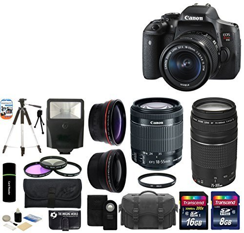 Canon EOS Rebel T6i 24.2MP CMOS Digital SLR Camera with EF-S 18-55mm f/3.5-5.6 IS STM Lens + Canon Zoom Telephoto EF 75-300mm f/4.0-5.6 III Autofocus Lens + 58mm Telephoto Lens + Wide Angle Lens + Case + Flash + Tripod + 24GB Deluxe Accessories Bundle by The Imaging World