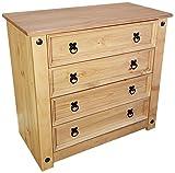 Mercers Furniture Corona 4 Drawer Chest, Wood, Antique Wax, 80 x 41 x 73 cm