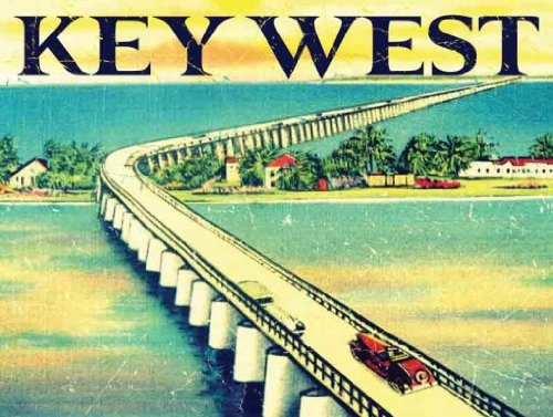 American Traditional Trip Road (Key West Florida Metal Sign, Vintage Travel Postcard Highlighting Traditional American Destinations)