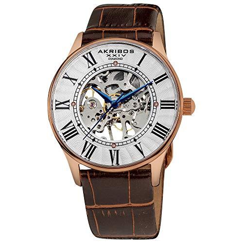 Akribos XXIV Men's AK499RG Bravura Slim Diamond-Accented Watch with Leather Strap