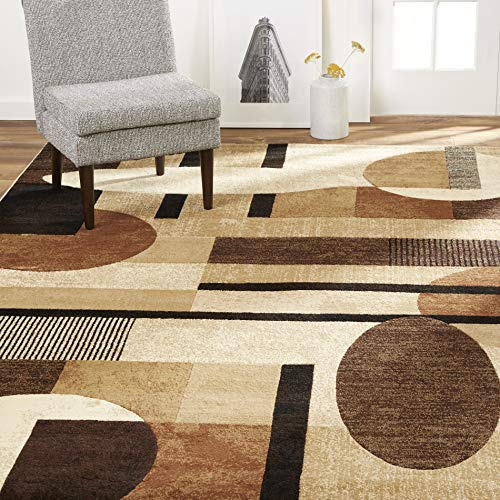 Home Dynamix Tribeca Jasmine Modern Area Rug, Abstract Brown/Beige 5'2″x7'2″