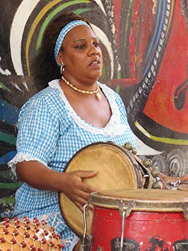Home Comforts Peel-n-Stick Poster of Latin Hispanic Person Drums Afro-Cuban Cuba Black Vivid Imagery Poster 24 x 16 Adhesive Sticker Poster Print