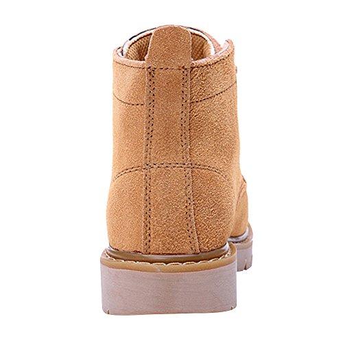Combat Orteil Rond Cuir Suede Bottines Rismart Cheville Haute Femmes Kaki Bas Bottes Confortable Talon Et Lacets qHwPIT