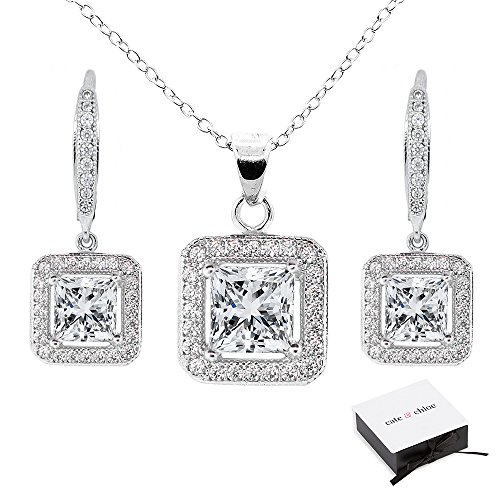 Cate & Chloe Ivy Jewelry Set, 18k White Gold Cubic Zirconia Pendant Necklace and Dangle Earrings, Bridal Jewelry Set, Necklace Earring Set for Women, Princess Cut Jewelry Set