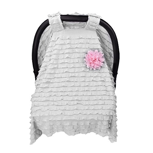 Baby Carseat Cover Canopy,Maternity Baby Stroller Sunshade Newborn Car Seat Carriage Blanket Sun Shade Rayshade Cover Basket Safety Cradle Cap Bassinet Canopy Visor.Grey+Pink Flower