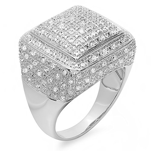 0.52 Carat (ctw) Sterling Silver Fancy Round Diamond Men's Hip Hop Ring 1/2 CT (Size 9) by DazzlingRock Collection