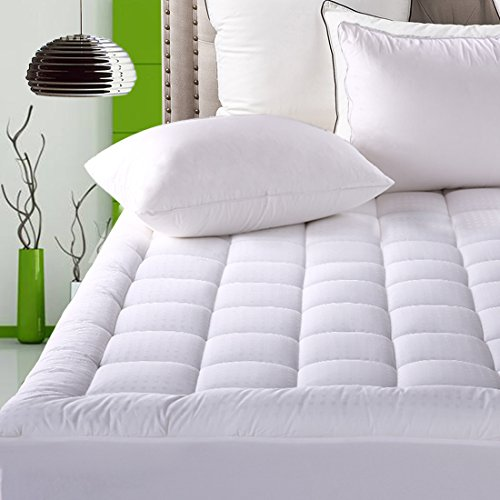 Fitted Quilted Mattress Pad Cover ( 8-21 Inch Deep Pocket ) - Luxurious 300TC 100% Cotton Top - Storm Goose Down Alternative Filled - King Mattress (Quilted Top Bedding)