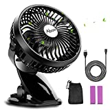 Stroller Fan - Clip On Fan - Rechargeable Battery or USB Operated - 360°Rotation - Adjustable Speed - Mini Portable Cooling Desk Fan for Baby - Car Seat - Gym - Travel - Office(2 pcs 2000mAh Batteries Included)