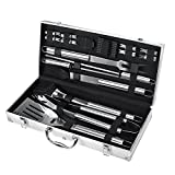 Image of FYLINA BBQ Grilling Set 21-Piece Upgraded Stainless Steel Utensils Barbecue Tools Grill Accessories with Aluminum Storage Case - Perfect Outdoor Grilling Kit (18 pcs)