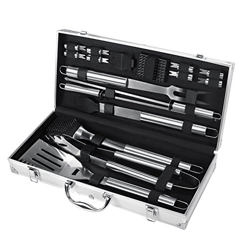 FYLINA BBQ Grilling Set 21-Piece Upgraded Stainless Steel Utensils Barbecue Tools Grill Accessories with Aluminum Storage Case - Perfect Outdoor Grilling Kit (18 (Stainless Steel Grilling)