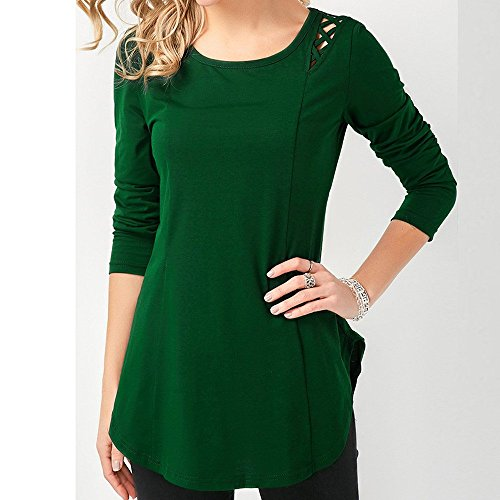 Longues Blouse Chemisier Mode Chic Pull T Top Green Blouse Shirt vider Femme RTro Chandail Crisscross Solide Manches Lace LGant Fleuri fminine Tops 4qF64