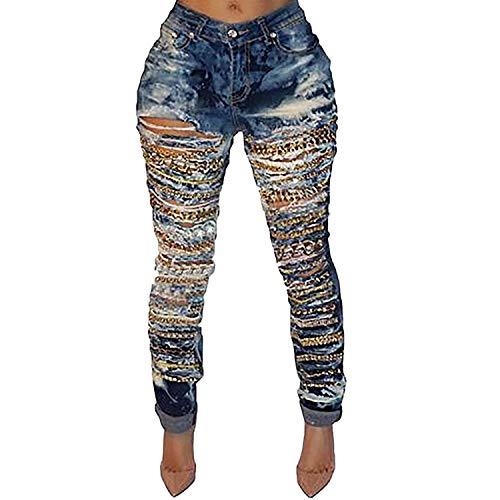 Lovits Women's High Waist Distressed Hip Hop Skinny Denim Ripped Boyfriend Jeans Stretch Pants Large Blue by Lovits