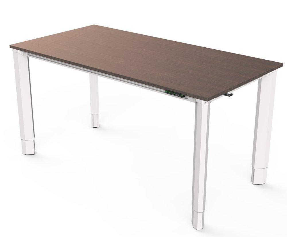 Vivistand Quattro 4-Leg Electric Sit Stand Desk 30'' x 60'' with White Frame and Dark Walnut Laminate Top