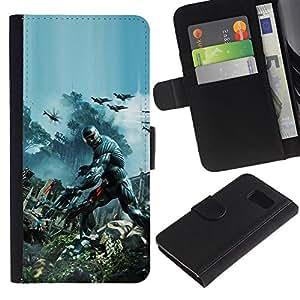 Samsung Galaxy S6 - Dibujo PU billetera de cuero Funda Case Caso de la piel de la bolsa protectora Para (Crisis Future Soldier War)
