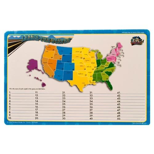 Dry Erase Lap Board United States Map & Capitals, Double Sided 11x17 Inches (Colors Vary) Great for Schools