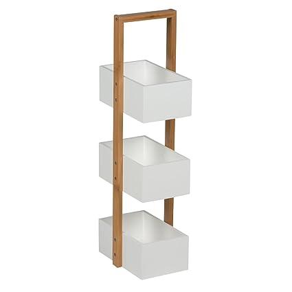 Bakaji Porta Accessori Bagno Bamboo 26 x 18,5 x 66 cm Homestyle ...