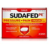 Sudafed PE Pressure + Pain + Mucus Caplets, Sinus Pressure and Pain Relief, Nasal Congestion Relief, 24 Count
