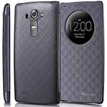 GreatShield LG G4 Case - [SHIFT LX][Sleep/Wake Function] Draw Bench PU Leather Flip Cover with Quick Circle Window Cut-Out for LG G4 2015 (Metallic Gray)