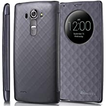 LG G4 Quick Circle Case, GreatShield SHIFT LX Slim Leather Flip Case View Window Cover with Sleep/Wake Function for LG Optimus G4 (Metallic Gray)