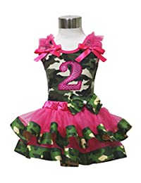 Birthday 2nd Camouflage Top Shirt Hot Pink Satin Trim Girl Skirt Set Nb-8y