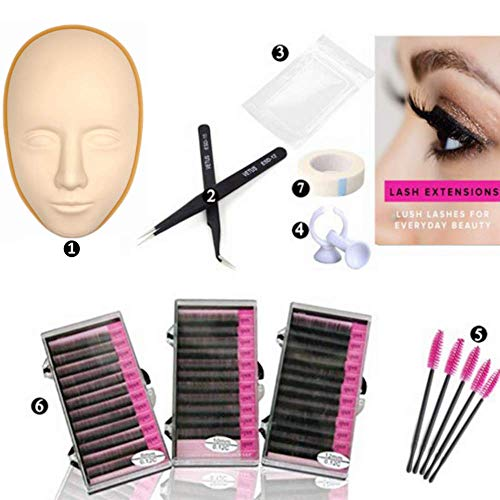 Dragon Grain Training Mannequin Head False Eyelashes Extensions Practice Set for Makeup Training and Eyelash Graft (5D Skin Pratice set) ()