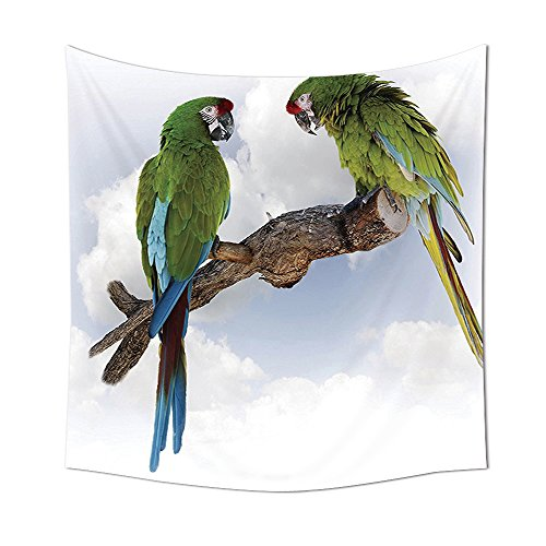 Parrots Decor Collection Two Parrot Macaw on a Branch Talking Birds Gifted Clever Creatures of the Nature Bedroom Living Room Dorm Wall Tapestries Green White Brown