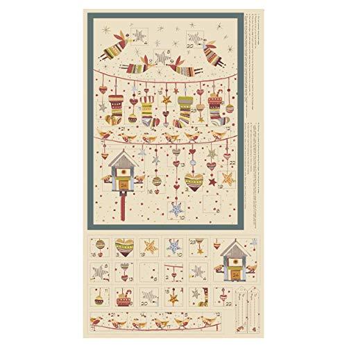 Stof Fabrics of Denmark Sophie Advent Calendar 24'' Panel Fabric, Dusty