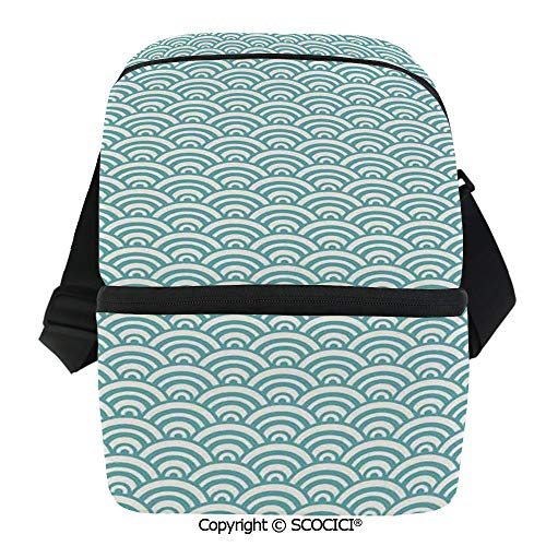 SCOCICI Reusable Insulated Grocery Bags Curvy Lines Bubbles in High Seas Surfing Season Water Sports Oceanic Summertime Thermal Cooler Waterproof Zipper Closure Keeps Food Hot Or - Hobo Curvy